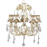 Jubilee Collection Ballroom 5-Light Shaded Chandelier; Taupe Check with Pink Ivory Sash