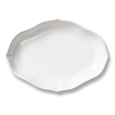 Royal Copenhagen White Fluted Half Lace Oval Accent Dish