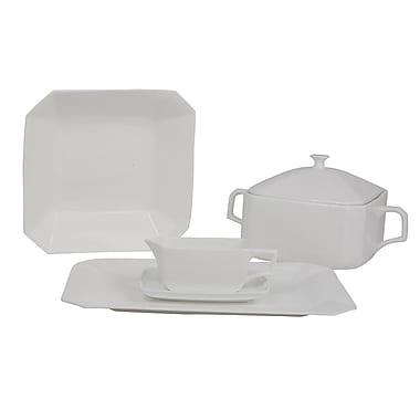 Shinepukur Ceramics USA, Inc. Octago Square Bone China Special Serving 5 Piece Dinnerware Set