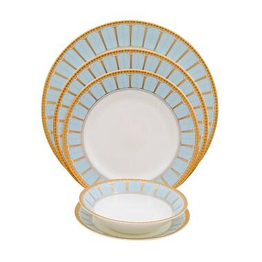 Shinepukur Ceramics USA, Inc. Discovery Bone China 20 Piece Dinnerware Set, Service for 4; Blue
