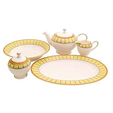 Shinepukur Ceramics USA, Inc. Discovery Bone China Traditional Serving 5 Piece Dinnerware Set; Green
