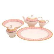 Shinepukur Ceramics USA, Inc. Discovery Bone China Traditional Serving 5 Piece Dinnerware Set; Pink