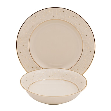 Shinepukur Ceramics USA, Inc. Palace Ivory China 24 Piece Completer Set; Gold