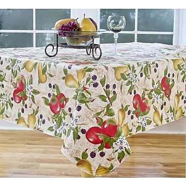 Elrene Home Fashions Everyday Fruits 84'' Oval Vinyl Tablecloth