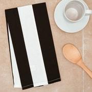 Linen Tablecloth Stripes Kitchen Towel (Set of 2); Black/White