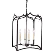 JVI Designs Gothic 4-Light Large Foyer Pendant; Matte black
