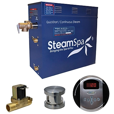 Steam Spa Oasis 6 kW QuickStart Steam Bath Generator Package w/ Built-in Auto Drain; Brushed Nickel