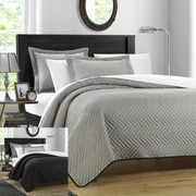 Chic Home Palermo 2 Piece Twin Quilt; Silver