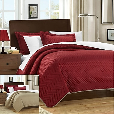 Chic Home Palermo 2 Piece Twin Quilt; Red