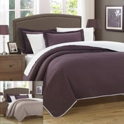 Chic Home Palermo 2 Piece Twin Quilt; Plum