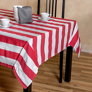 Linen Tablecloth Stripes Rectangular Cotton Tablecloth; 60'' L x 126'' W