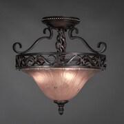 Toltec Lighting Elegant  3 Bulb Semi Flush Mount; Amber Crystal