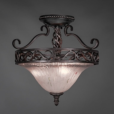 Toltec Lighting Elegant 3 Bulb Semi Flush Mount; Frosted Crystal
