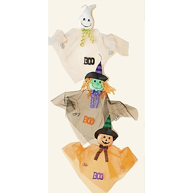 Worth Imports 3 Piece Hanging Ghost, Witch, Pumpkin w/ Cans Halloween Garden Stake Set