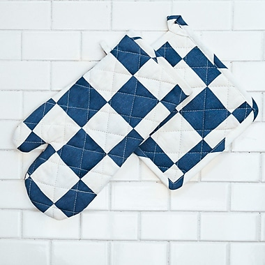 Linen Tablecloth Checker Board Oven Mitt and Potholder Set (Set of 2); Navy Blue/White