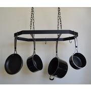 J & J Wire Hanging Pot and Pan Rack; Black