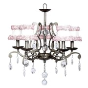 Jubilee Collection Elegance 5-Light Shaded Chandelier; White with Pink Flowers