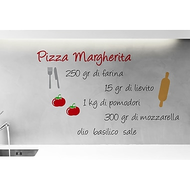 WallPops! Home Decor Line Pizza Margherita Recipe Quote Wall Decal