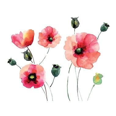 WallPops! Home Decor Line Watercolor Poppies Wall Decal