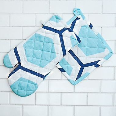 Linen Tablecloth Honeycomb Oven Mitt and Potholder Set (Set of 2); Pool Blue/White