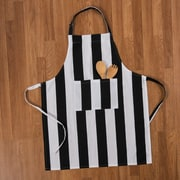 Linen Tablecloth Stripes Chef Apron; Black/White