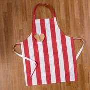 Linen Tablecloth Stripes Chef Apron; Red/White