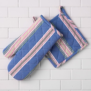 Linen Tablecloth Striped Print Oven Mitt and Potholder Set (Set of 2)
