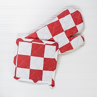 Linen Tablecloth Checker Board Oven Mitt and Potholder Set (Set of 2); Red/White
