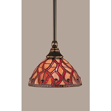 Toltec Lighting 1-Light Stem Mini Pendant w/ Hang Straight Swivel; Black Copper