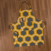 Linen Tablecloth Honeycomb Chef Apron; Charcoal/Mustard