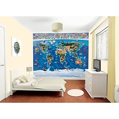 WallPops! Walltastic Wall Art Map of The World 10' x 96'' Wall Mural