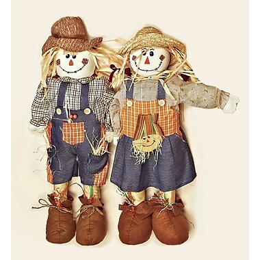 Worth Imports 2 Piece Standing Scarecrow Figurines Set