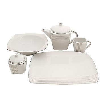 Shinepukur Ceramics USA, Inc. Geometric Square Fine China Traditional Serving 5 Piece Dinnerware Set