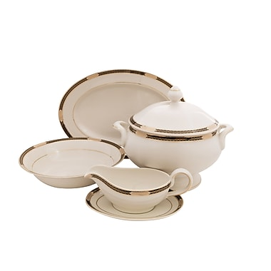Shinepukur Ceramics USA, Inc. Elite Ivory China Traditional Serving 5 Piece Dinnerware Set