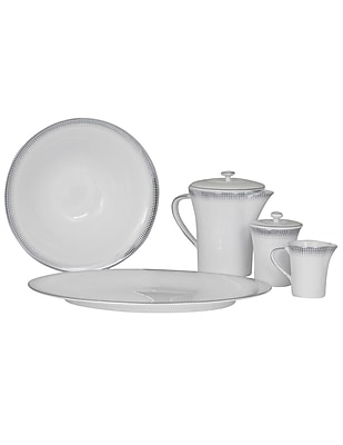 Shinepukur Ceramics USA, Inc. Ambassador Bone China Traditional Serving 5 Piece Dinnerware Set; Gold
