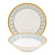 Shinepukur Ceramics USA, Inc. Discovery Bone China 24 Piece Completer Set; Blue
