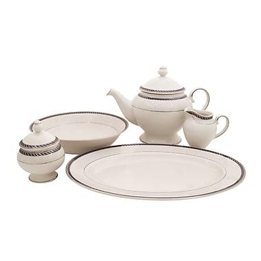 Shinepukur Ceramics USA, Inc. Forever Ivory China Traditional Serving 5 Piece Dinnerware Set; Silver