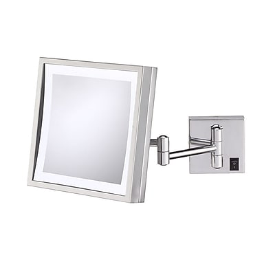 Kimball & Young Single Sided Square 3x Magnification LED Wall Mirror (Hardwired); Polished Nickel