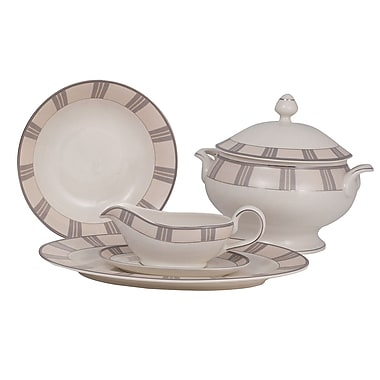 Shinepukur Ceramics USA, Inc. Linen Ivory China Special Serving 5 Piece Dinnerware Set