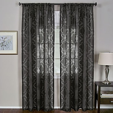 Elrene Home Fashions Montego Geometric Sheer Rod Pocket Single Curtain Panel; Black