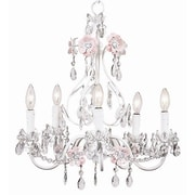 Jubilee Collection Flower Garden 5-Light Crystal Chandelier; Pink / White