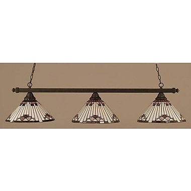 Toltec Lighting 3-Light Square Kitchen Island Pendant; Dark Granite