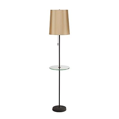 Lights Up! Zoe 60'' Floor lamp; Croissant Silk Glow