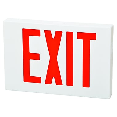 Morris Products 2 Circuit LED Exit Sign in Red LED and White Housing w/ Battery Backup
