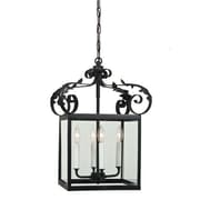 JVI Designs 4-Light Large Scroll Foyer Pendant; Matte black