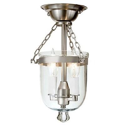 JVI Designs 2-Light Tiny Semi Flush Mount; Pewter