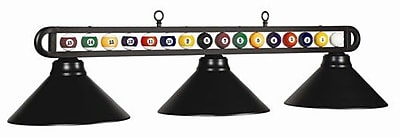 RAM Game Room 3-Light Billiard Ball Light; Matte Black/Matte Black