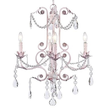 Jubilee Collection Valentino 4-Light Crystal Chandelier; Pink