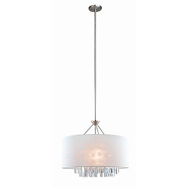 DVI Piccadilly 5-Light Drum Pendant; Buffed Nickel with White Fabric Shade