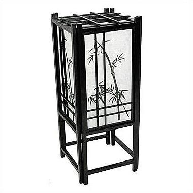 Oriental Furniture Bamboo Tree Shoji 18'' Table Lamp; Black